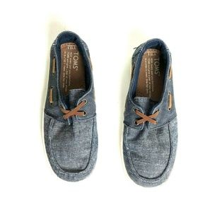 Toms Youth 13.5 Blue Canvas Loafers Slip On Shoes